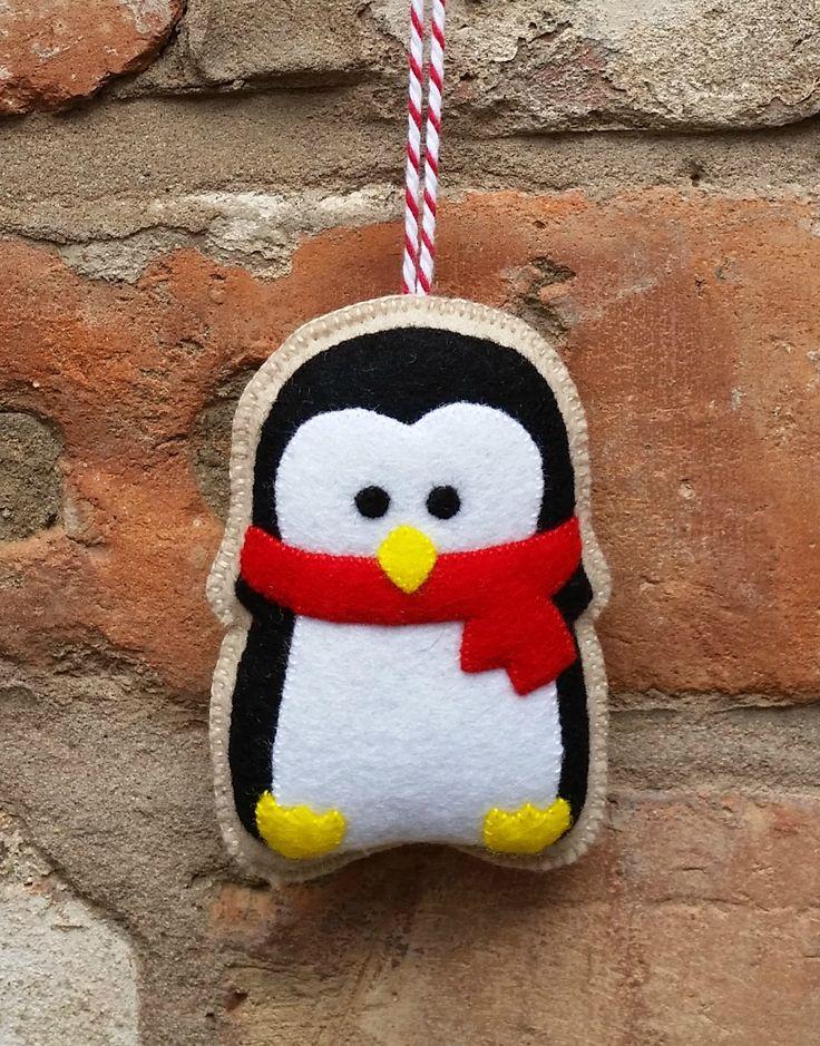 Felt christmas penguin ornament