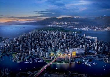 | Concord Pacific has unveiled plans for eight residential towers next to BC Place,at the north end of the Cambie Bridge