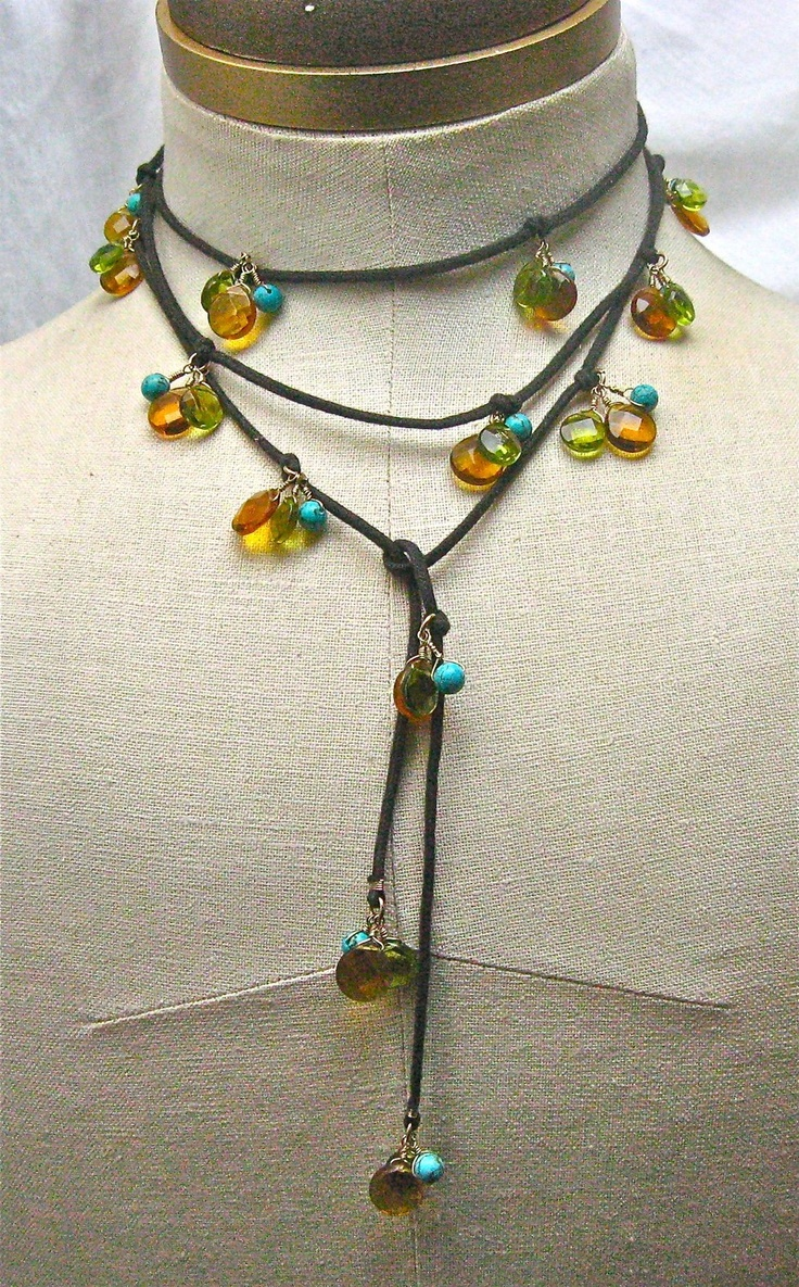 Lariat With Turquoise And Glass Beads. $45.00, via Etsy.