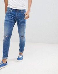 47c6bd3ad3d ASOS DESIGN | ASOS DESIGN super skinny jeans in 12.5oz mid wash blue with knee  rips