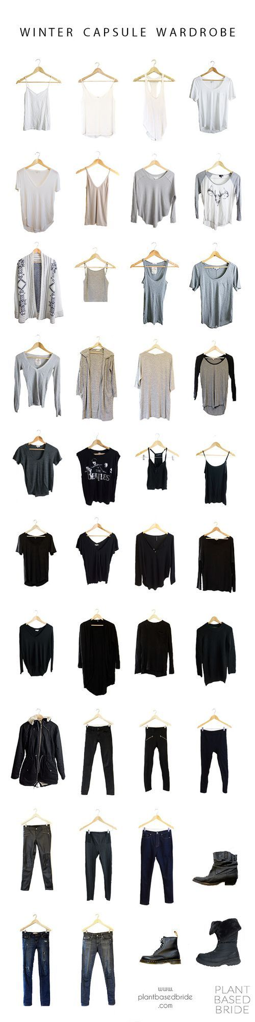 Minimal, neutral, vegan winter capsule wardrobe for 2016!  Check out the blog for the details of each item and for my fall capsule wardrobe recap!