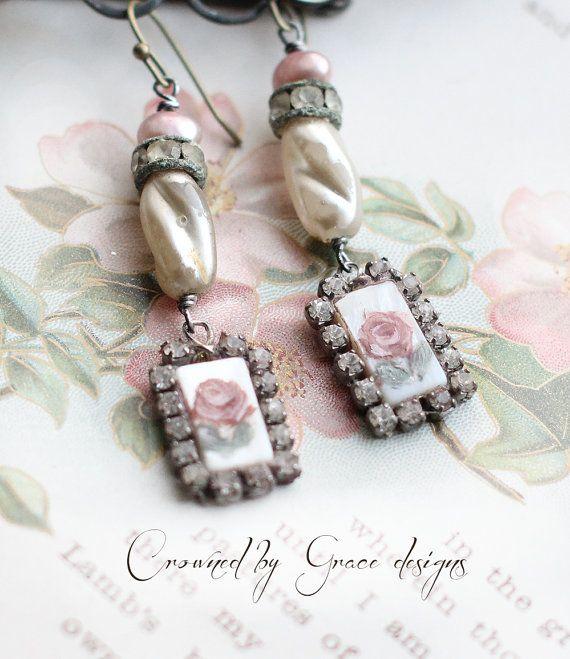 La Petit Rose II vintage assemblage earrings by crownedbygrace