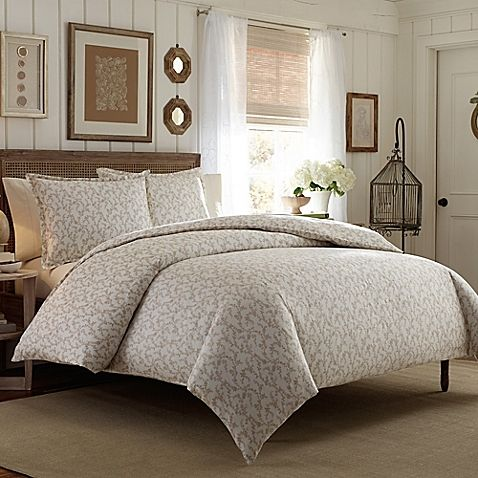 Laura Ashley® Victoria King Duvet Cover Set in Taupe
