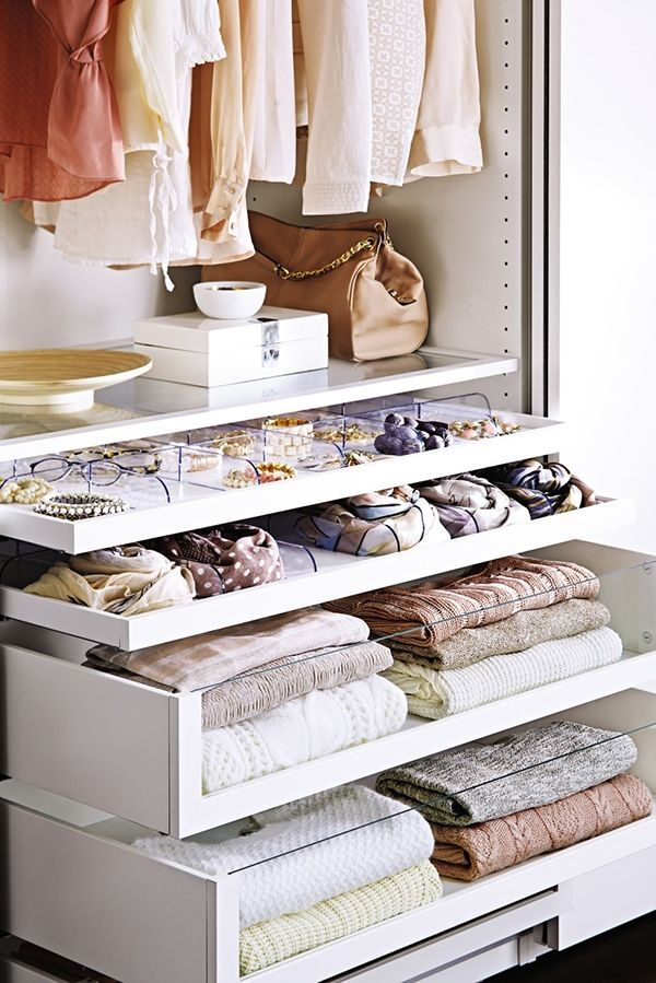 Closet drawers with clear dividers and panels so you can see what's inside