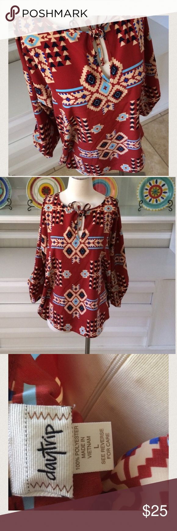 "Aztec blouse NWOT Excellent condition!  Measures 30"" long and 22"" armpit to armpit Daytrip Tops Blouses"