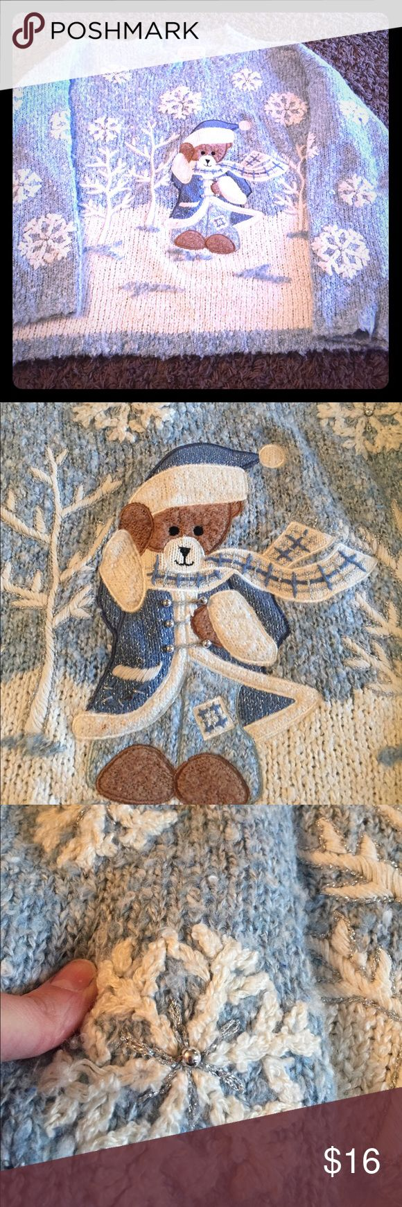 Winter Cozy Mandal Bay Teddy Bear Sweater XL In VGUC due to wash wear. Still in awesome cozy condition! Adorable and very detailed! Embroidery is beautiful! Seems to run a tad large I'd say 16-18? Mandal Bay Sweaters Crew & Scoop Necks