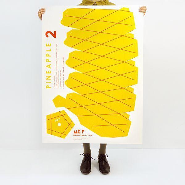 Giant Tropical Fruit Paper Sculpture Kit - Pineapple