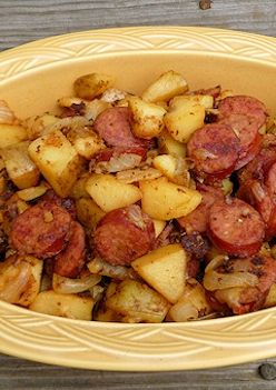 Easy Kielbasa and Potatoes Recipe. Mark and I loved this! He made eggs to go with his. This works as a dinner and a breakfast!