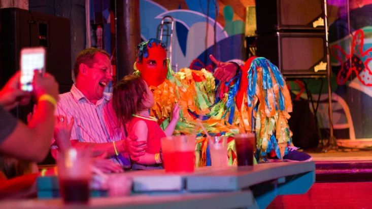 Hear a tuk band, meet local characters such as the Mother Sally, Shaggy Bear and stilt walkers, and party the night away to calypso music at the Harbour Lights dinner show in Barbados.