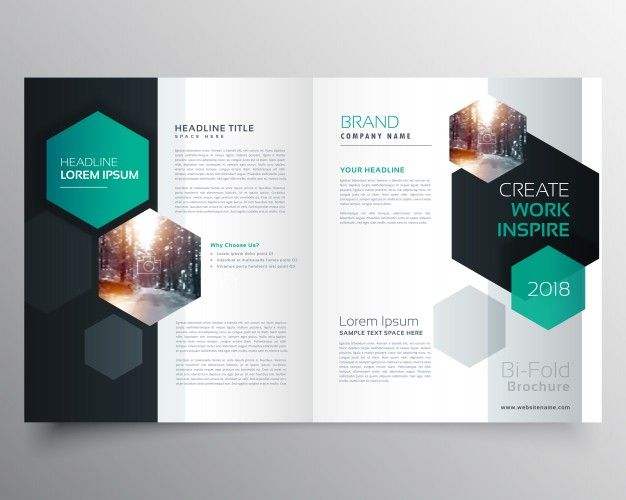 Brochure Template With Hexagonal Shapes Magazine World Design