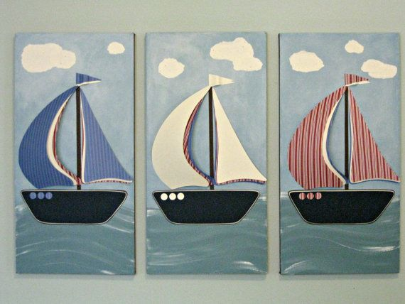 Ship Shape Sailboats Children's Room Decor by PaperMoonArtist