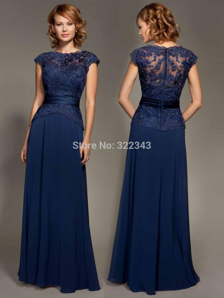 Mama- Cheap dress bust, Buy Quality dress cord directly from China dress long sleeve tunic dress Suppliers: Cheap Dark Navy Blue Lace Cap Sleeve Chiffon Floor-Length Mother Of The Bride Dresses Party Dresses Prom Dresses