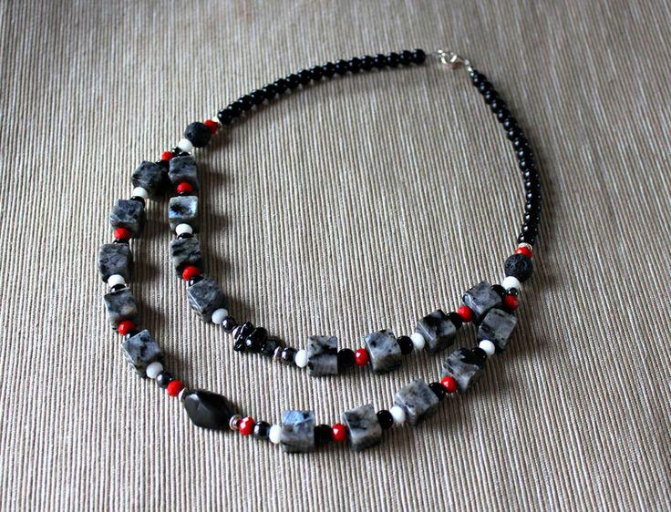 Necklace with labradorite, agate, lava and glass from Especially for You Available on http://en.dawanda.com/shop/Especially-4-You  facebook.com/especiallyfryou