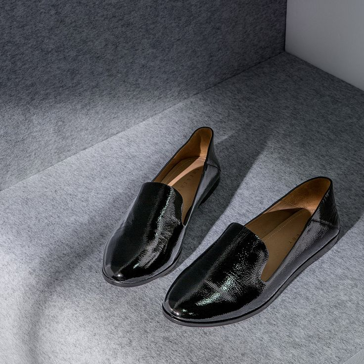 Our favourite weekend loafer updated in black crinkle-finish patent leather.