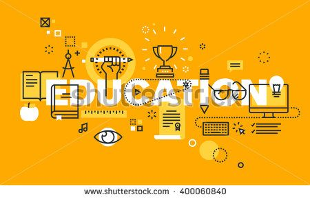 Thin line flat design banner for EDUCATION web page, classical and on-line education, increasing knowledge, choice of universities. Vector illustration concept for website and mobile website banners.