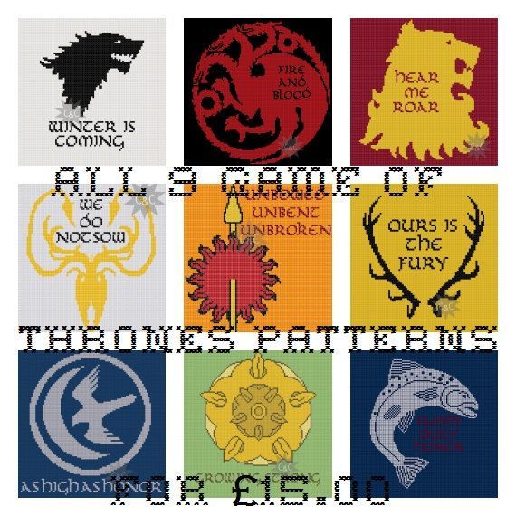 Game of Thrones House sigil cross stitch patterns - 9 patterns on Etsy, $25.26