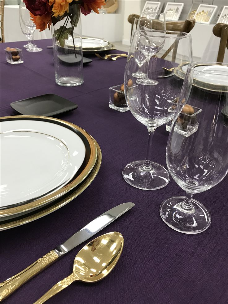Fall vibes, Grape Shangri-La Linen | Savoy Brushed Gold Flatware | Napoleon China | Standard Glassware
