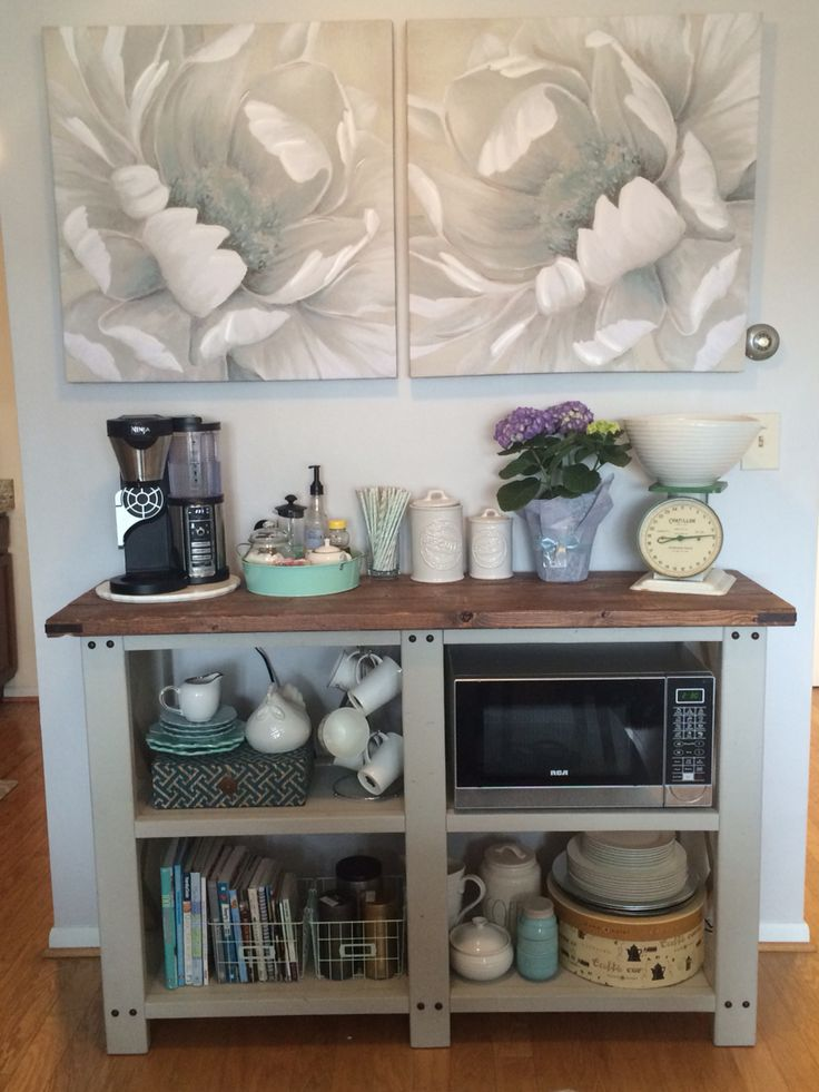 Open shelving coffee bar and microwave shelf