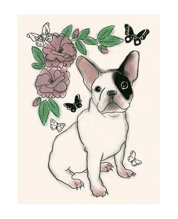 French Bulldog art print  French Bulldog Print  от matouenpeluche