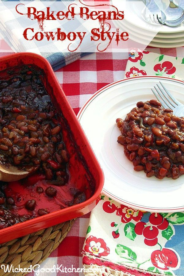Baked Beans Cowboy Style by WickedGoodKitchen.com ~ Secrets include ...