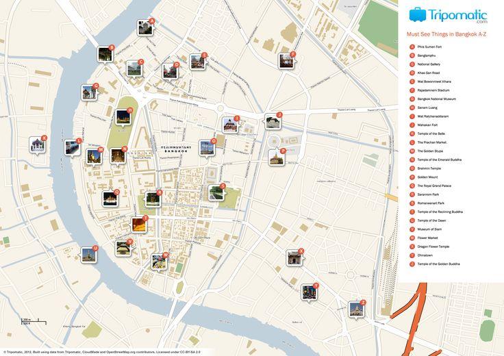 Map of Bangkok attractions   Tripomatic.com