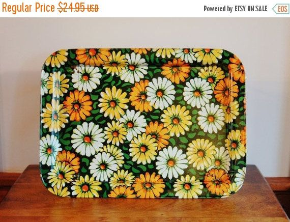 Mid Century Daisies Metal Lap Tray - SOLD! :)