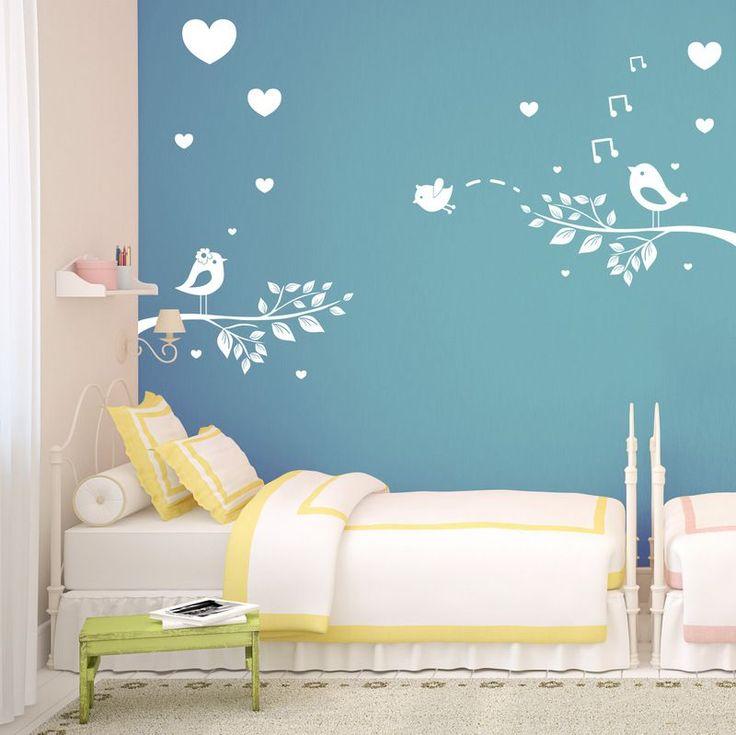 (3448n) Nálepky na stenu - Zaľúbené vtáčiky | ARTSABLONY.SK