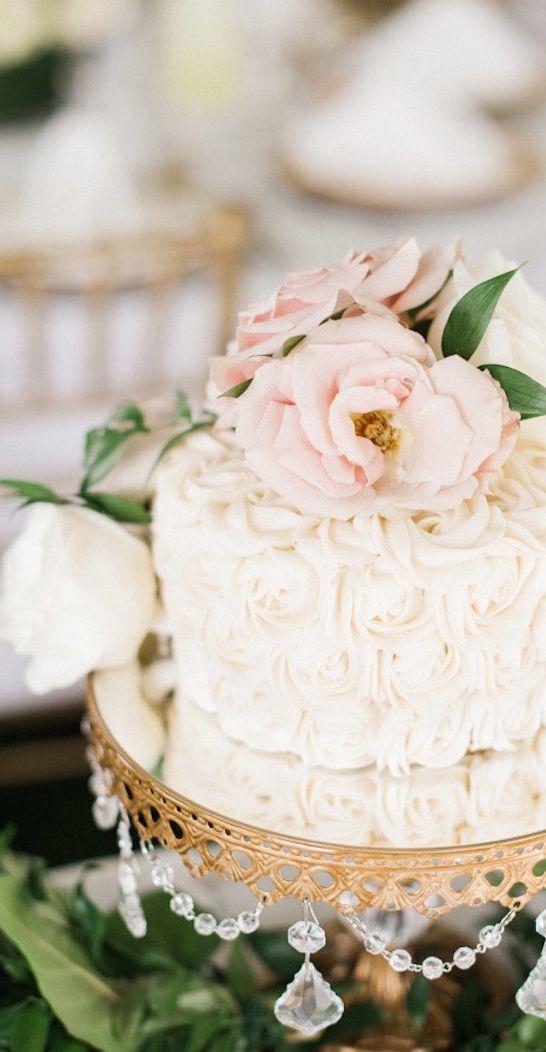 Pale white blush rose wedding cake #small #rose #garden #wedding