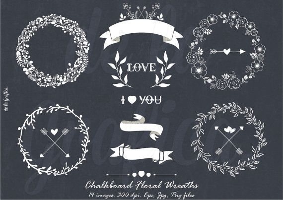 Chalkboard Floral Wreaths Clipart, Clip art. Wedding Clipart. Floral Wreaths, Heart, Laurels. 14 images. 300 dpi. Eps, Png files