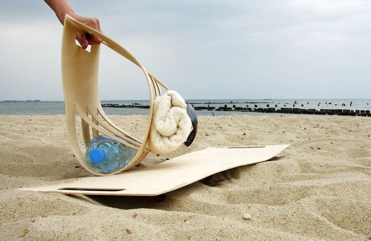 SID_06 beach bag made of plywood/stool