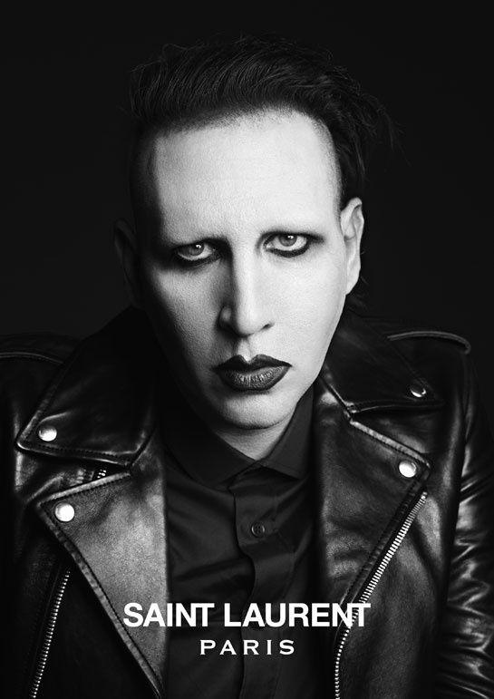 Saint Laurent en musique avec Marilyn Manson http://www.vogue.fr/mode/news-mode/diaporama/saint-laurent-en-musique/12543#!marilyn-manson-cuir-noir-saint-laurent-campagne