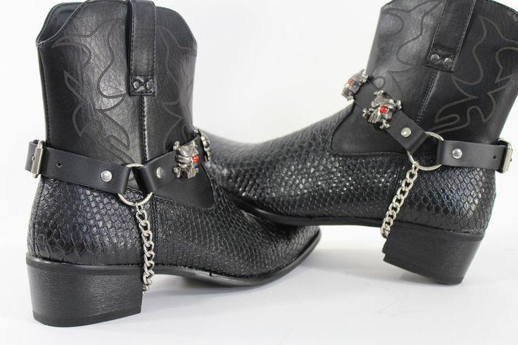 Fashionable Biker Western Boots Bracelets Chain Black Leather 2 Straps Silver Skull Skeleton
