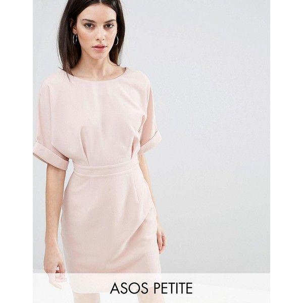 ASOS PETITE Mini Wiggle Dress ($56) ❤ liked on Polyvore featuring dresses, petite, pink, pink dress, petite short dresses, pink mini dress, round neck dress and slim fit dress