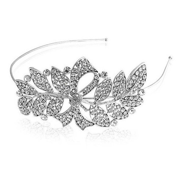 Bling Jewelry Gatsby Inspired Crystal Rhinestone Ribbon Leaf Bridal... (875 UAH) ❤ liked on Polyvore featuring accessories, hair accessories, clear, bridal hair accessories, crystal bridal headband, ribbon headband, rhinestone hair accessories and flapper headband