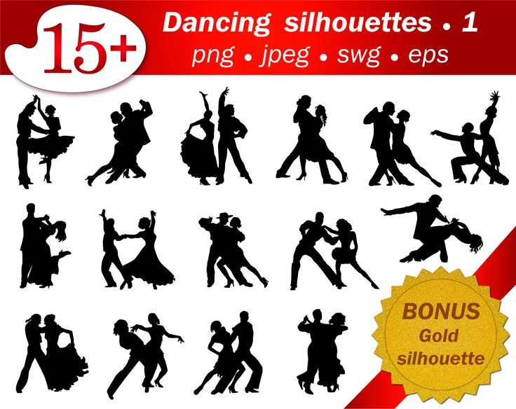 15 silhouettes of ballroom dancer. Bonus set glitter gold silhouettes. Eps svg jped png. Printable. Clip art, scrapbooking wedding, party. by GecleeArtStudio on Etsy