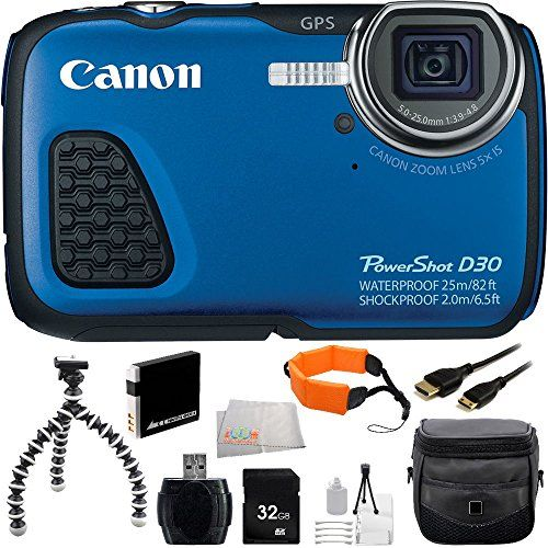 Canon PowerShot D30 Waterproof Digital Camera (Blue) + 32GB Bundle 11PC Accessory Kit. Includes 32GB Memory Card + Reader + Extended Life Replacement Battery (NB-6L) + Mini HDMI Cable + Carrying Case + Flexible Gripster Tripod + Floating Strap + Starter Kit + Microfiber CLeaning Cloth
