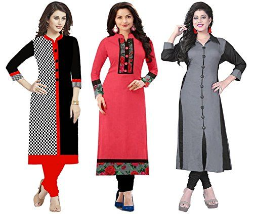 71d58c4b3 Combo Kurti Pack Of 3 Cotton Fabric Latest New Fancy Kurti Different Color  In Low Price Amazon Prime Low Price Kurti For Women Party Wear Kurti For  Women ...