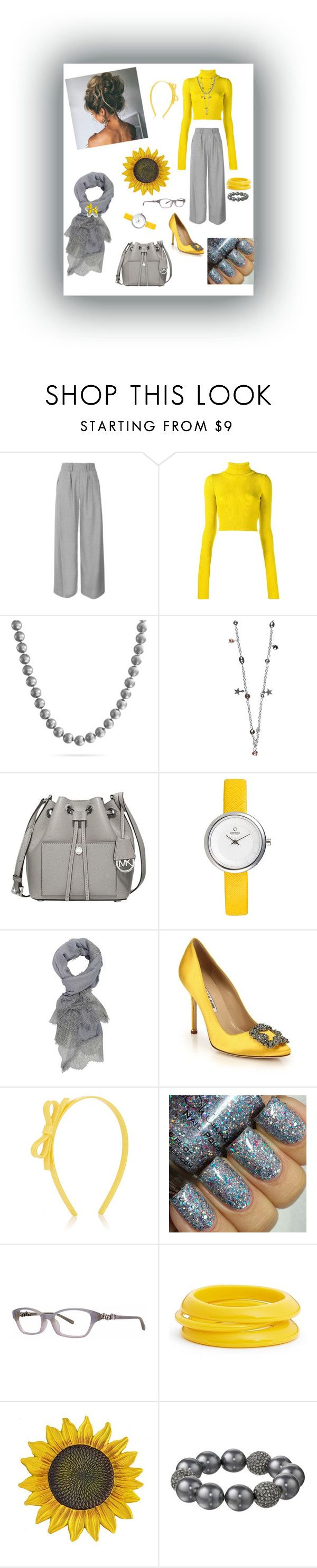 """Yellow & Grey day"" by kristina-sandvig on Polyvore featuring Topshop, Jacquemus, Bling Jewelry, Michael Kors, Manolo Blahnik, Lilies & Roses, Vera Wang, ZENZii and Kenneth Jay Lane"