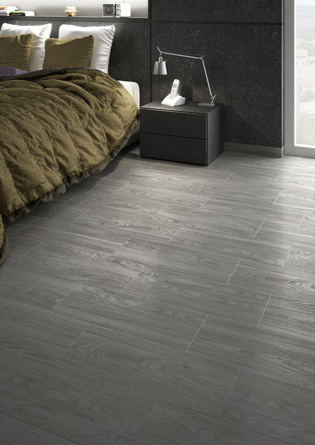 Dormitorio. Madera cerámica. Pavimento de gres. Imagen 3D fotorrealista. actua.es