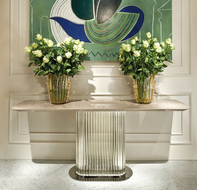 ART   Large Image Of Italian Murano Glass Based Console Table With  Lacquered Pearl Top.