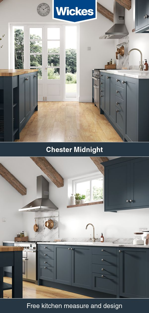 Chester Midnight in 2020   Blue kitchen cabinets, Wickes ...