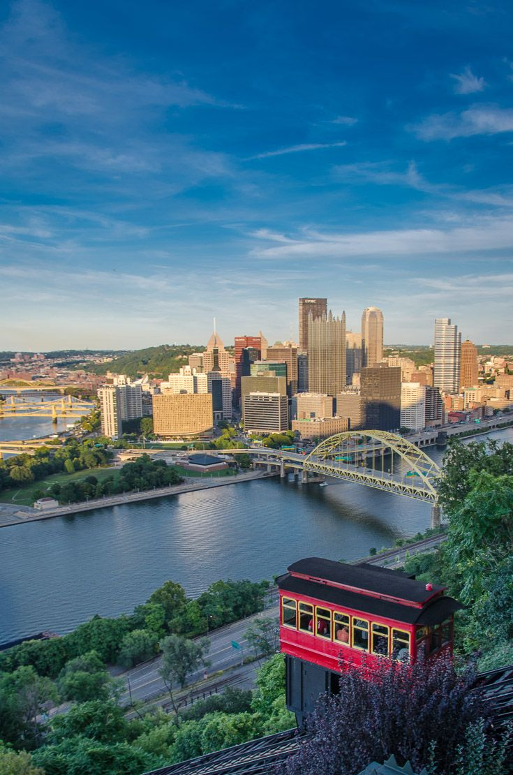 Ride the Duquesne Incline at sunset for the best views of the Pittsburgh city skyline, rivers, and bridges | Here are some unique and locally-loved things to do in Pittsburgh, Pennsylvania. Things to see and do on a weekend getaway, family city vacation, or business trip.