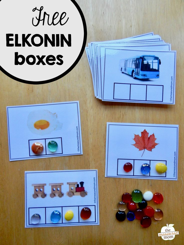 Get a set of free Elkonin boxes with 2, 3, and 4 phonemes. These are a perfect pre-reading activity!