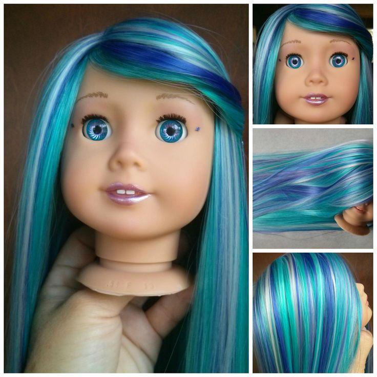 Custom American girl doll Mermaid Teal/purple hair $350  https://www.facebook.com/ZazouDolls