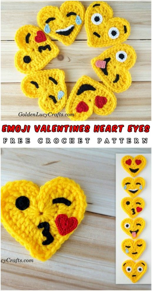 Free Pattern Helo dear crochet lovers. Today I show you an absolutely amazing project made by Golden Lucy – series of six hearts emojis. Enjoy!Full