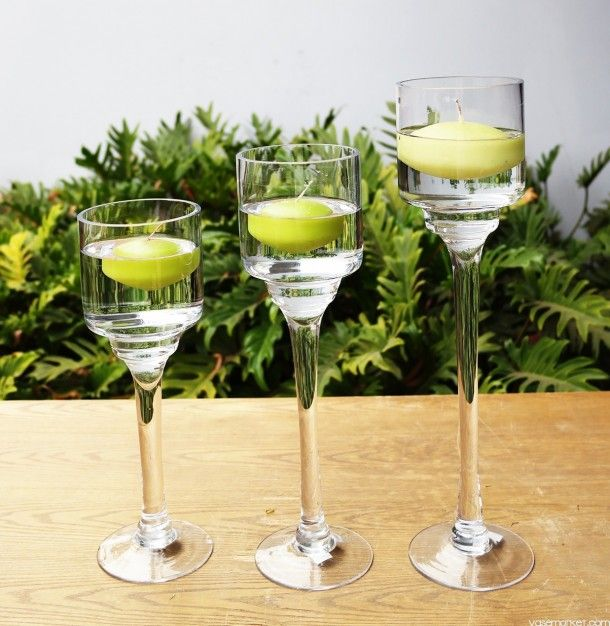 Decoration Stemmed Candle Holder Trio Set Long Stem Floating Wedding Table Looks Pinterest Candles Holders And Centerpieces