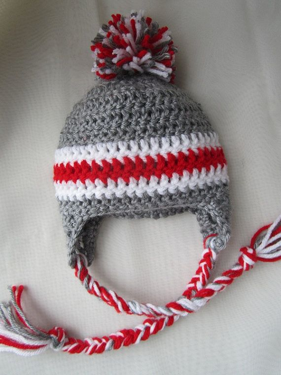Ohio State University Earflap Hat OSU hat by JustPaigeCreations