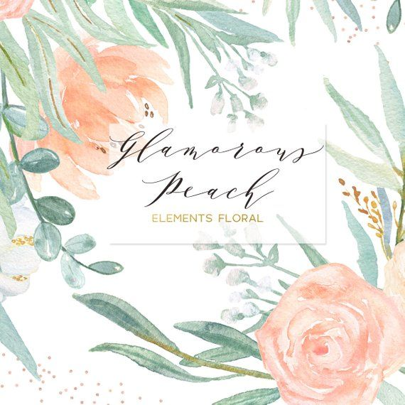 Blush Pink Peach And Mint Green Palette Digital Clipart Soft Pink Elements Floral Wedding Flowers Peonies Roses Eucalyptus Wedding Invitations Pink Gold Green Palette Pink Wedding Invitations