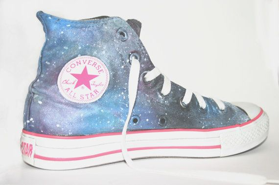 SALE -- Galaxy High-top Converse Shoes (Hand-painted)