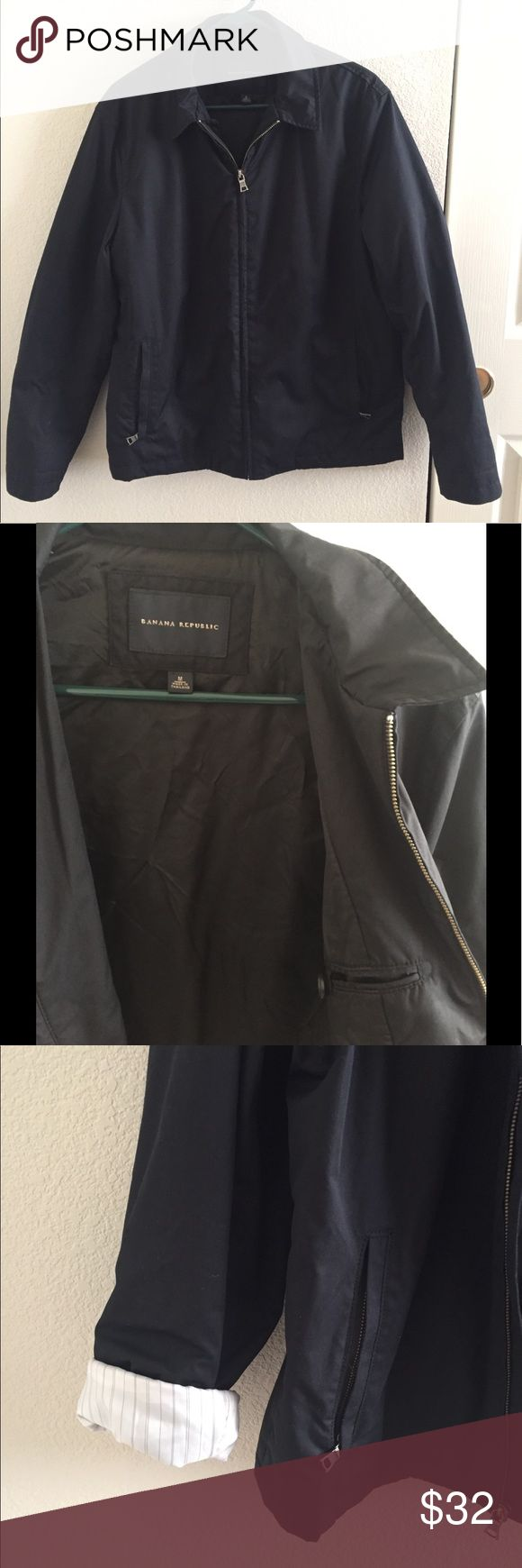 BANANA REPUBLIC Women's Zip Up Jacket Women's black zip up jacket with collar. Zippered front pockets plus inner pocket with button closure. Sleeves have a white and light striped lining. Sleeves can be folded for a different look. Banana Republic Jackets & Coats